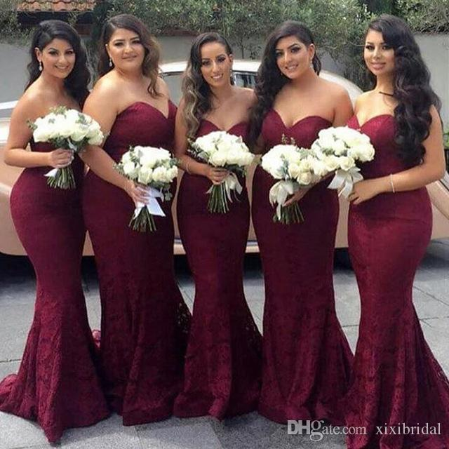 Hot Sale Burgundy Bridesmaids Dresses 2017 Long Sweethart Lace Wedding Party Gown Mermaid vestido madrinha Plus Size