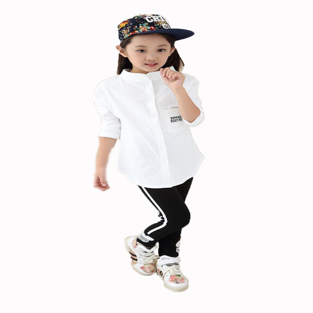 Enfants Marque Printemps Automne Coton Blanc Blouse à manches longues Enfants Solide Bébé Filles Chemises Automne Vêtements
