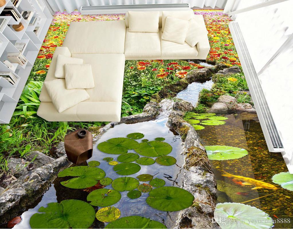 vinyl flooring Customized photo wallpaper Sea World Dolphin 3d floor tiles wallpapers for living room