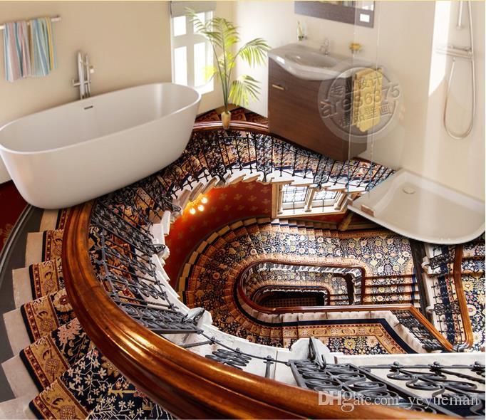 3D Flooring murale wallpaper personalizzato autoadesivo autoadesivo foto pavimento carta da parati scale 3D piano soggiorno camera da letto