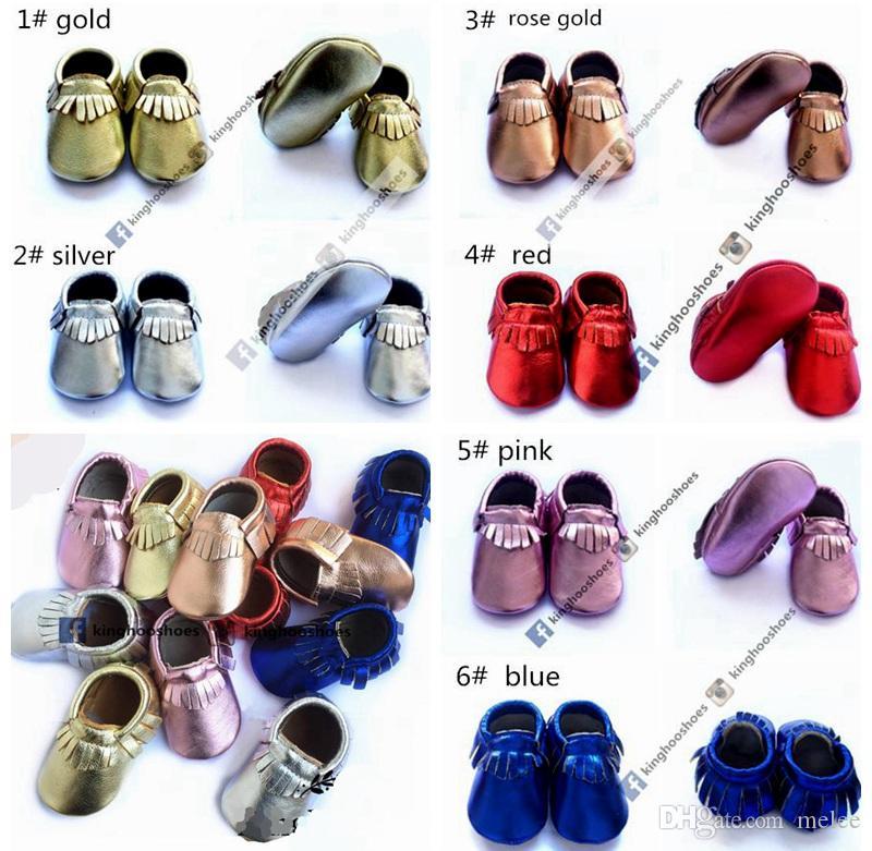 Kinghoo Baby Blink Walking Moccs Schoenen Baby Lederen Mocassins Metallic Kids Schoenen voor Kinderen Meisjes Schoenen Jongens Zuigeling Blesjes Toddler