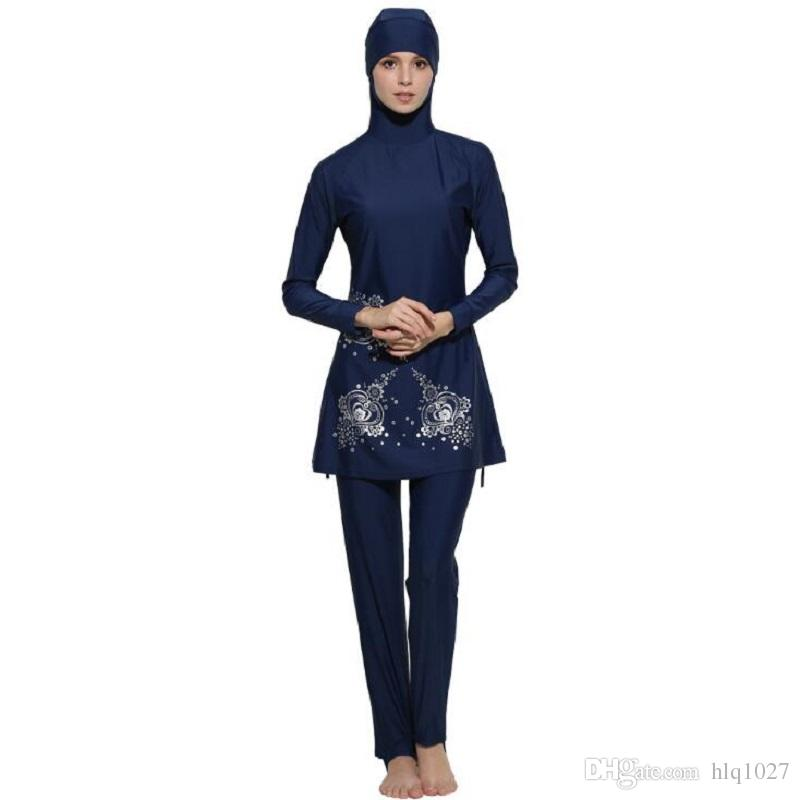 e3d71c34221 Wholesale Full Coverage Muslim Swimwear Islamic Bodysuit Muslim Women  Conservatism Swimsuit Arab Swimming Beachwear Free Shipping