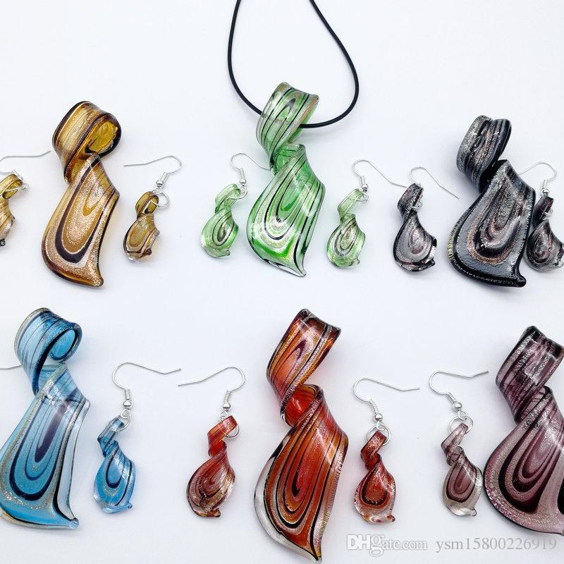 تويست مزيج الألوان زجاج مورانو قلادة القرط مجموعة مجوهرات ، الأزياء والمجوهرات مجموعة ، مجموعة مجوهرات مورانو