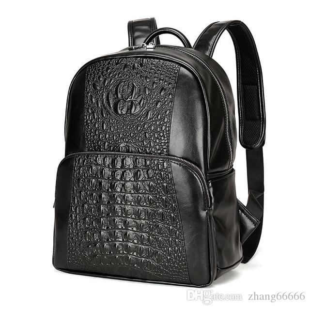 Men Leather Backpack Men Large Capacity Rucksack Shoulder School Bag 3D  Crocodile Male Back Pack Mochila Escolar Dakine Backpack Best Backpack From  ... a0bd3496713c2