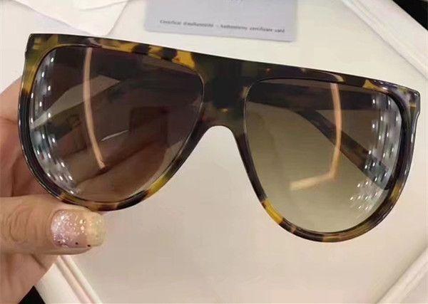 41435 Lunettes de soleil Vintage Audrey Mode Femmes Marque Designer CL41435 Grand Cadre Rabat Haut Surdimensionné Leopard Pc Planche Cadre Matériel Avec Cas