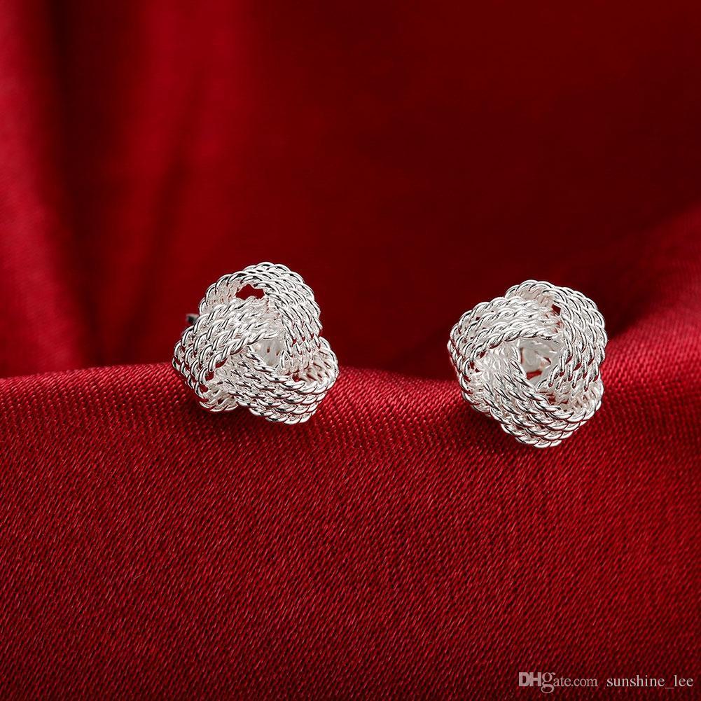 Graceful 925 versilbert Schmuck Delicate Knot Frauen Stud Fashion Ohrringe Party Schöne Ohrringe Freies Verschiffen