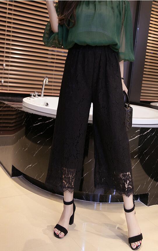 2017 Sexy Dentelle Femmes Pantalon D'été Mode Veau Longueur Lâche Casual Pantalon Taille Élastique Pantalon Jambe Large Plus La Taille 4XL DN311