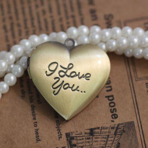 29*27*7MM Silver/antique bronze/rose gold/black gun heart photo locket charm jewelry I love you word metal picture frame pendants wish box