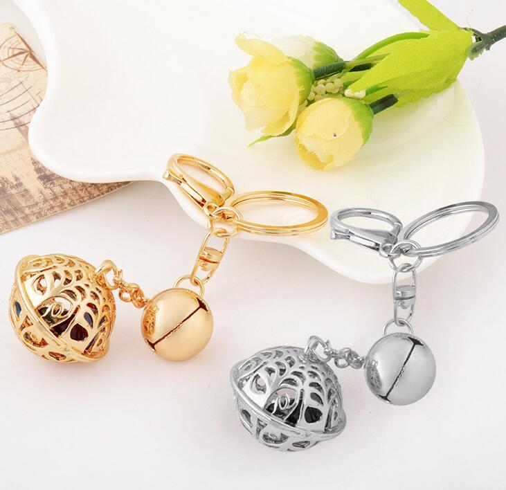 Hollow Gold Gongling Bells Keychain Key Ring Women Bag Pendant Car Keychains Handmade Boutique Collection Handicraft