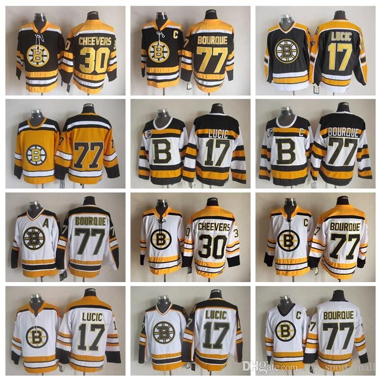 2019 Men 77 Ray Bourque Jerseys Ice Hockey 30 Gerry Cheevers 17 Milan Lucic  Boston Bruins Vintage Jersey CCM 75th Black White Yellow From  Top sport mall e9fbfed16