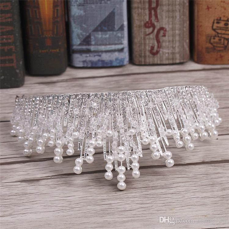 New Luxurious Crystal Pearl Wedding Bridal Accessories 2017 Latest High Quality Bridal Tiara Crowns