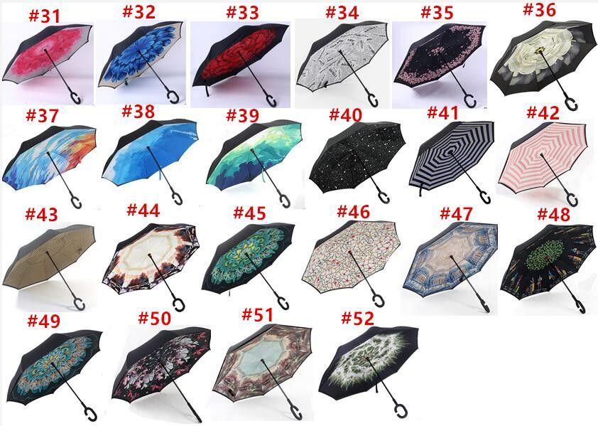 Ветрозащитный Обратный Складной Двойной Слой Перевернутый Чува Зонтик Self Stand Inside Out Защита от дождя C-Hook Руки Для Автомобиля Дождя Открытый
