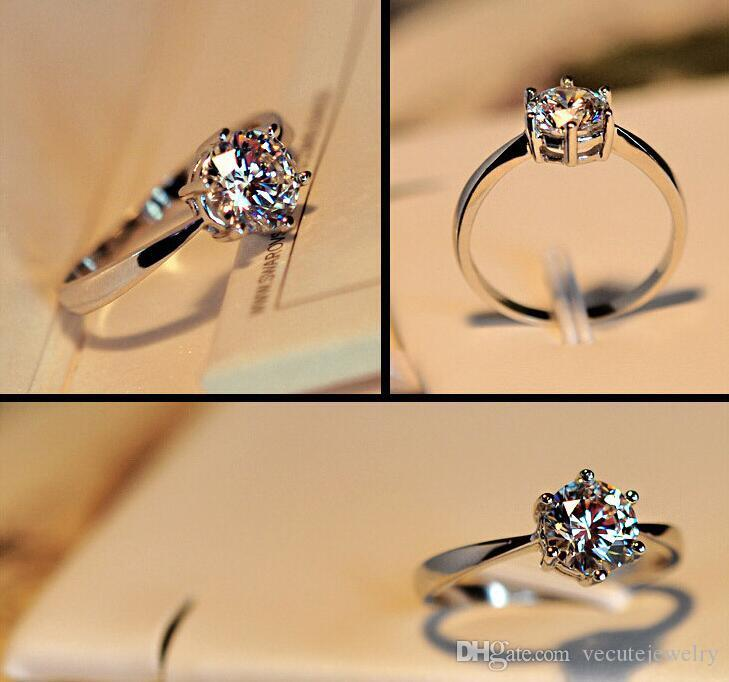 18K White Gold Silver Plated Wedding Six Claw Zirconia Crystal Ring for Women Made With Swarovski Elements Wedding Finger Rings Wholesale