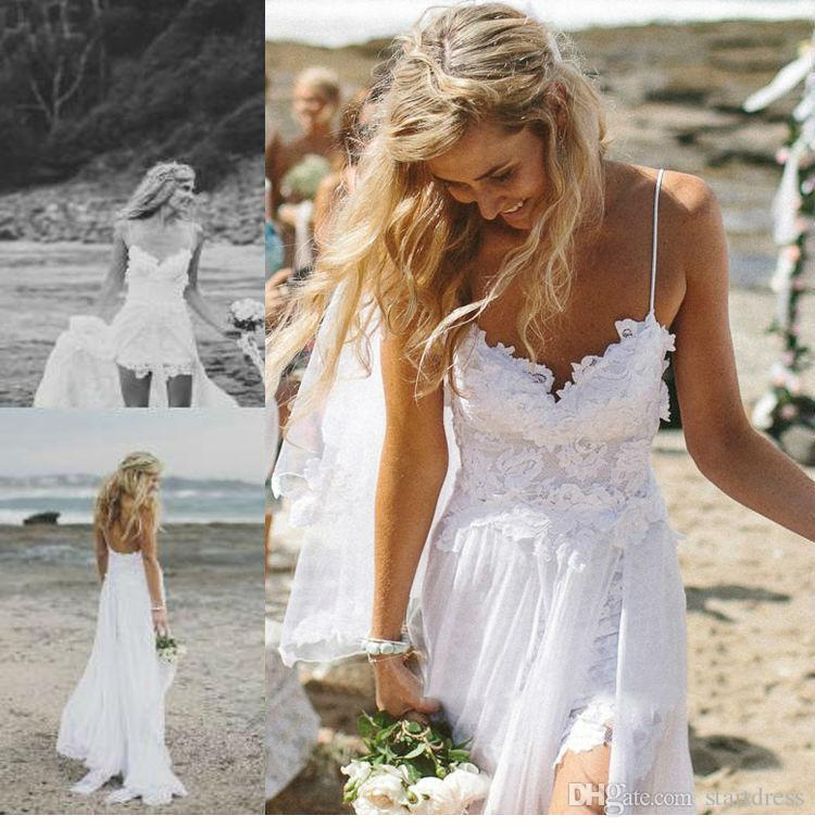 hot selling beach wedding dress sexy backless chiffon wedding dressed with lace long wedding dreee bride wedding dresses lace shoulder wedding dress from