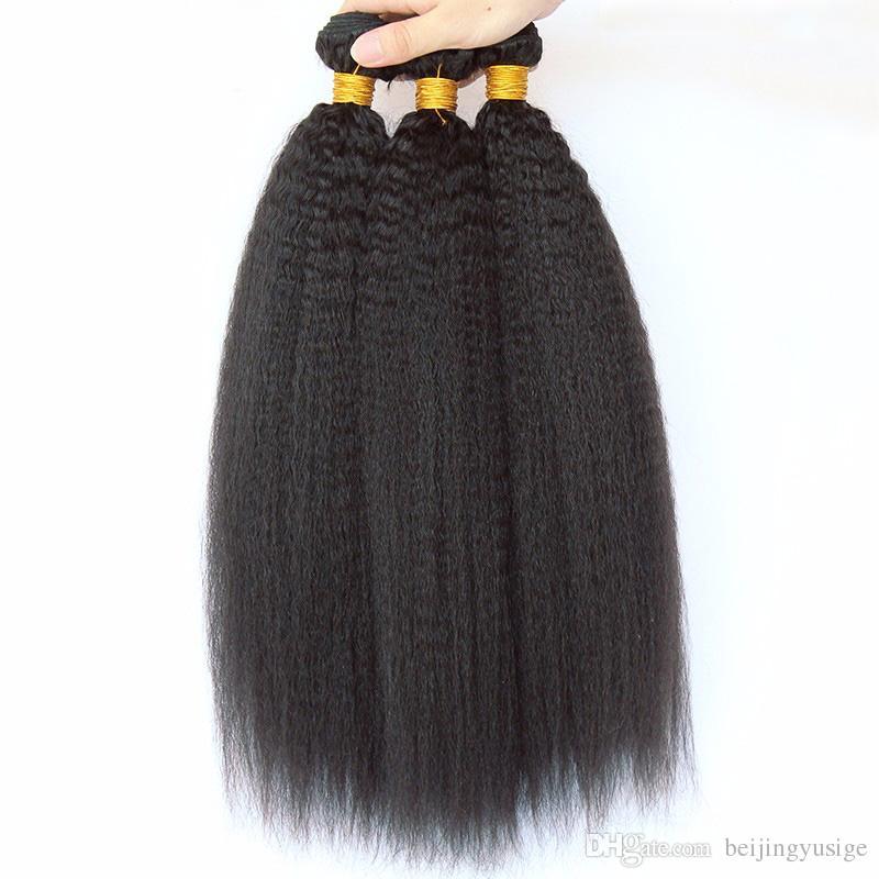 Brazilian Afro Kinky Curly Human Hair Bundles 100g/pc Straight Body Wave Loose Wave Kinky Straight Mongolian Hair