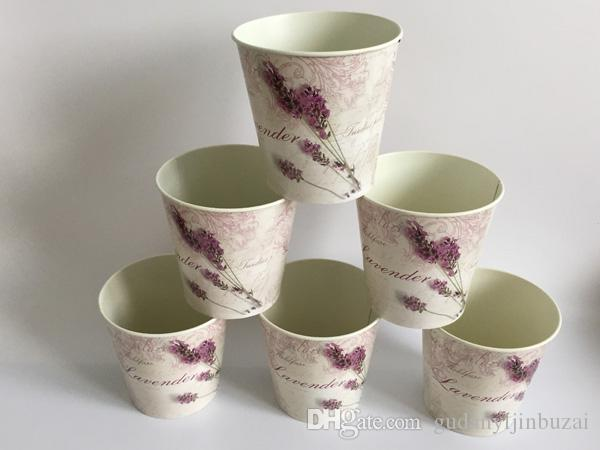 Lavender Round Metal Flower Pot Planter Iron flower Tub wedding decorative vase bonsai pot white home decor