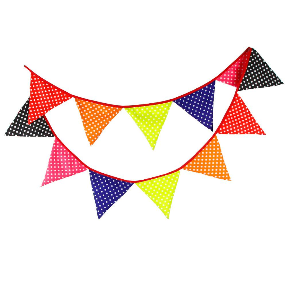 Wholesale- New 12 Flags - 3.2M Cotton Fabric Banners candy colour print Bunting Decor Indian camping bunting birthday photo garland