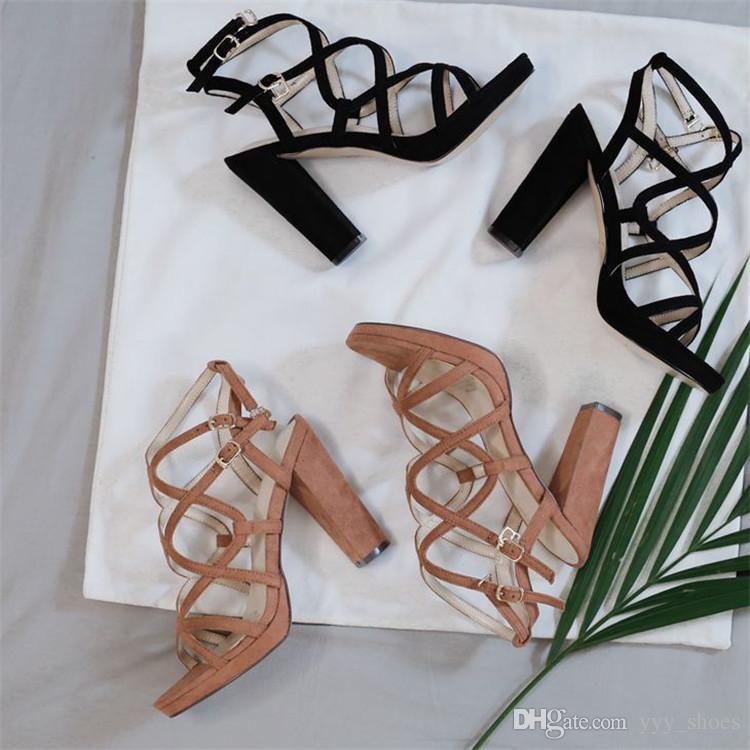 Summer Sandals Prom Party Womens Shoes Open Toes Chunky Heels Ladies Shoe Thick Heel 10 cm Cut-Outs Buckle Strap Fast Shipping