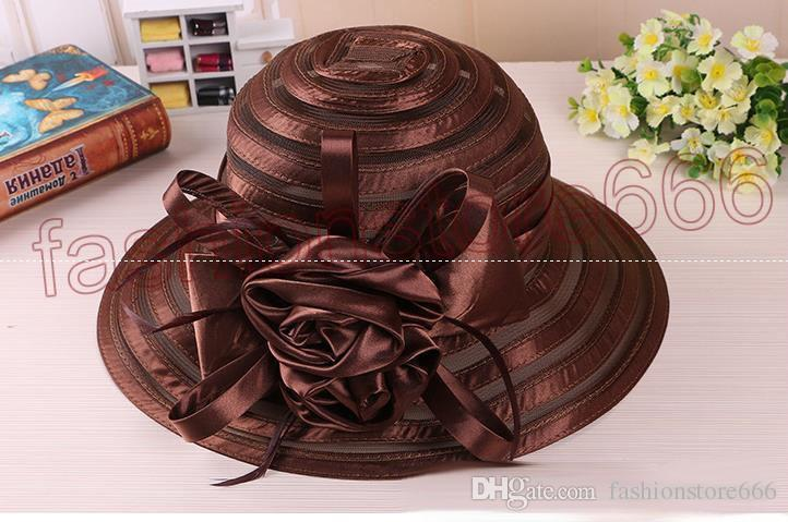 Yeni Örgü Kentucky Derby Kilisesi Şapkalar Kadınlar Için Yüksek kalite Organze Şapka Geniş Ağız Düz Kapaklar 5 Renkler