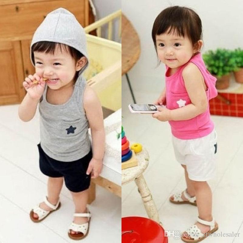 Baby Boys Girls Clothes Kid Toddler Clothing Set Pink Grey Tracksuit Sport Suit Playsuit Cotton Vest Shirt Short Pants Summer Boutique shirt