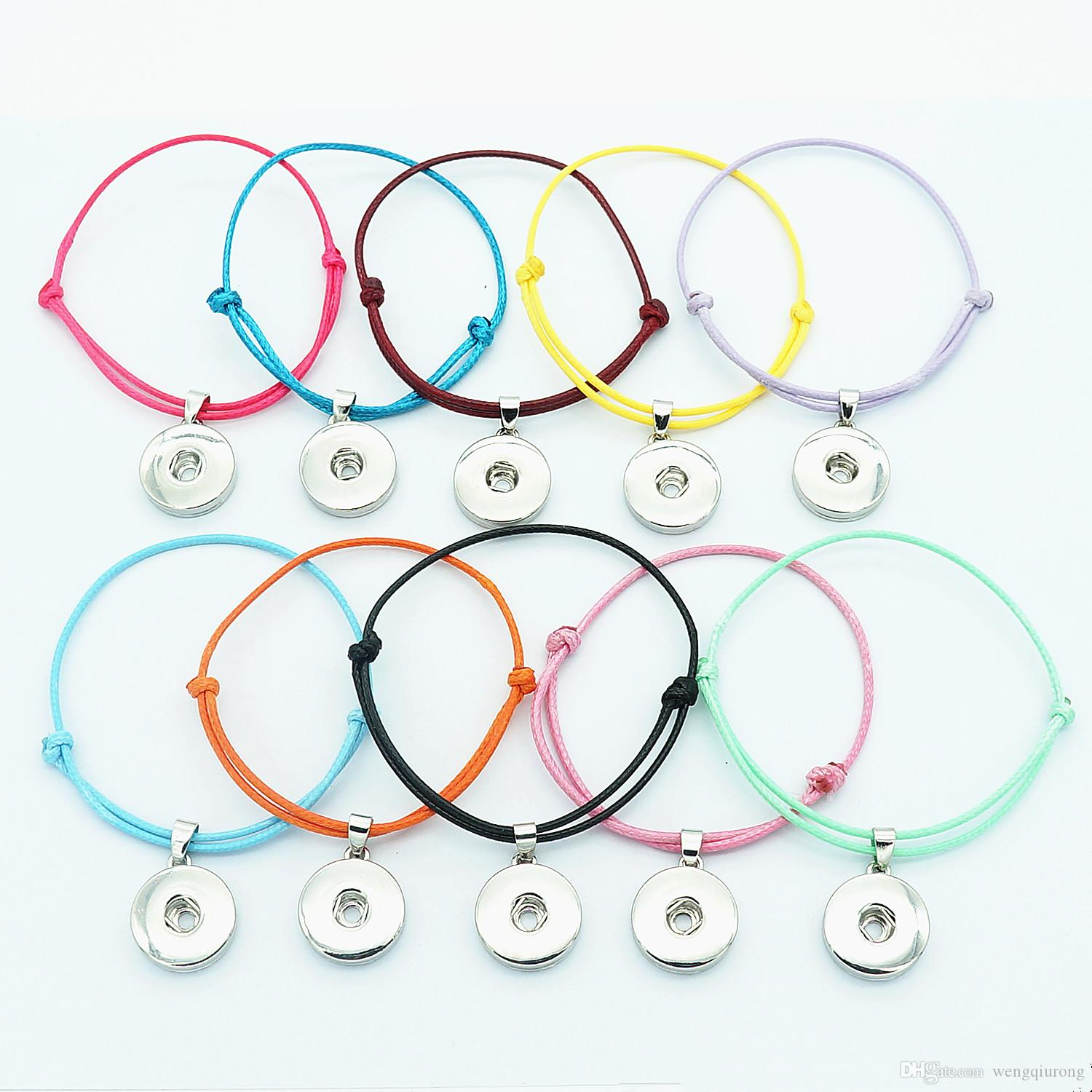 Fashion SE0161 simple 10pcs mixed colors rope bracelets adjustable for 18mm snap buttons DIY snap jewelry wholesale