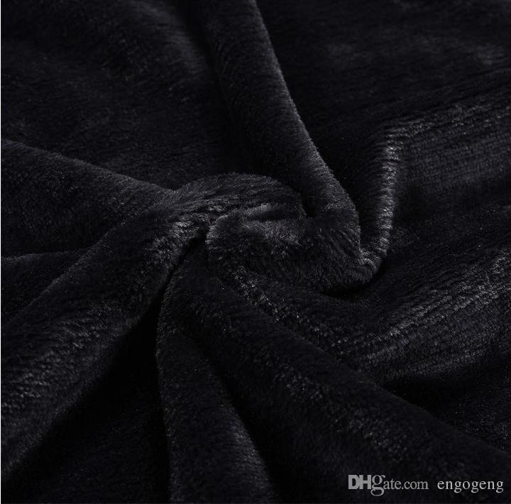 HOT Brand black throw manta de lana de franela 2size- 130x150cm, 150x200cm con bolsa de polvo C style logo para Travel, hogar, oficina manta de siesta