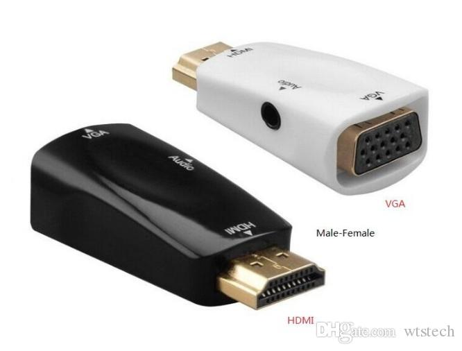 HD1080p HDMI a VGA Video Converter Macho-Hembra con Cable de Audio Adaptador de Video Para Xbox 360 PS360 Apple Box DHL envío gratis