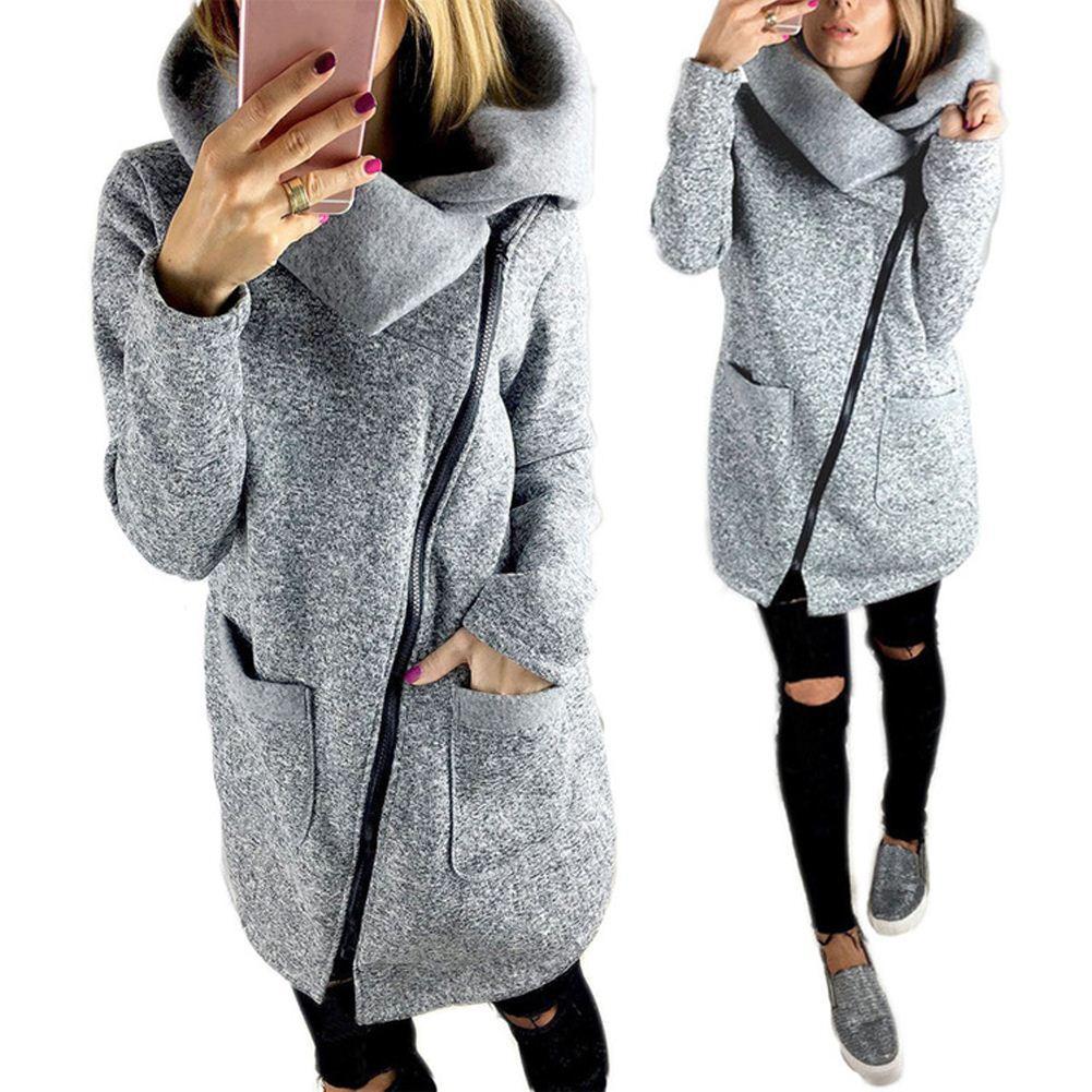 2017 Women Autumn Winter Clothes Warm Fleece Jacket Slant Zipper ...