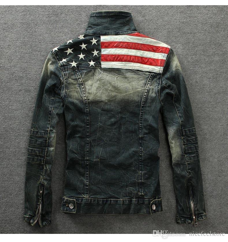 Wholesale-2015 men's denim jackets Outerwear American flag male do old blue motorcycle jeans jacket coat man fashion slim jeans denim