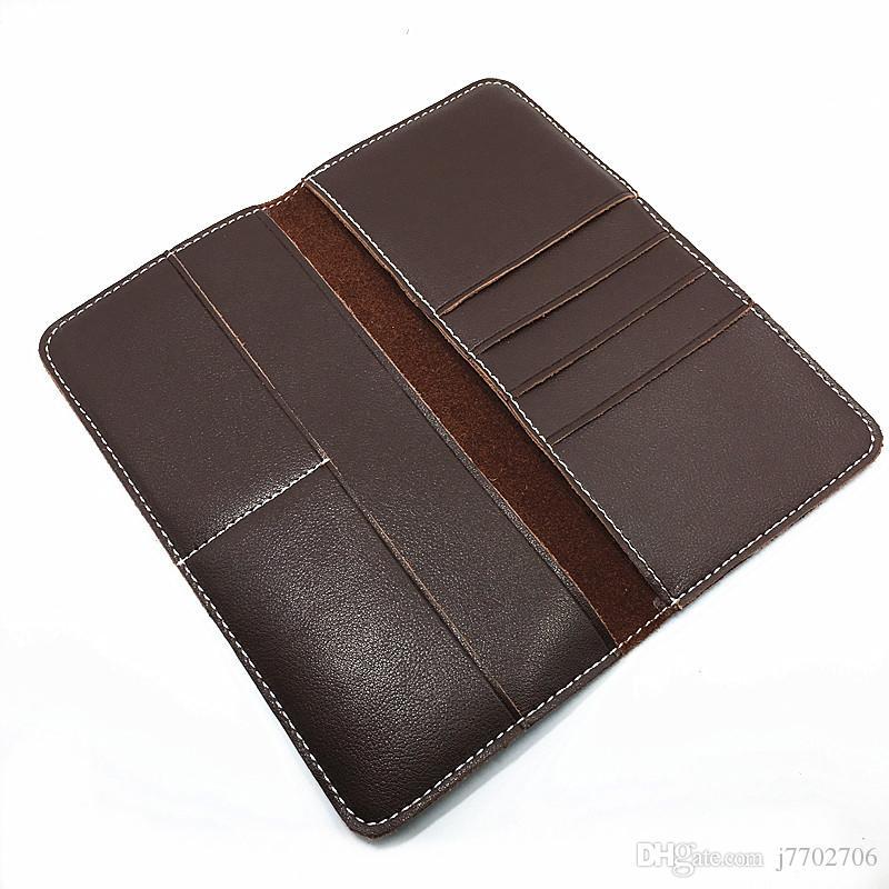 2016 새로운 Mens 진짜 가죽 빈티지 수동 디자인 매끄러운 갈색 지갑 높은 품질 배드 부드러운 가죽 롱 클러치 백 전화 지갑 남자에 대 한
