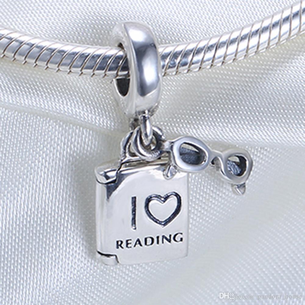 Réel 925 En Argent Sterling Non Plaqué Lecture Livre Pendentif Charme Européen Charmes Perles Fit Pandora Chaîne Bracelet DIY Bijoux