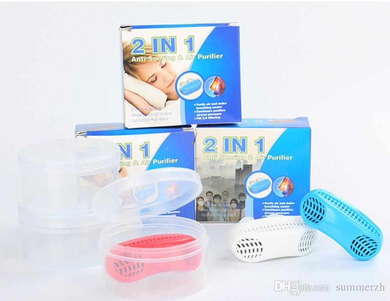 2 em 1 Parar de Ronco Snore Purificador de Ar Nariz Aparelho de Respiração Apnéia Guarda Auxiliar de Dormir Dispositivo de Cessação Ronco Silicone Anti Ronco
