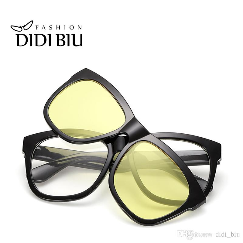 6d45cfe301 DIDI Square Magnet Clip On Sunglasses Women Men Double Lens Reflective Sun  Glasses Night Vision Goggles Flip Up Eyewear Rainbow Lunette U490  Prescription ...