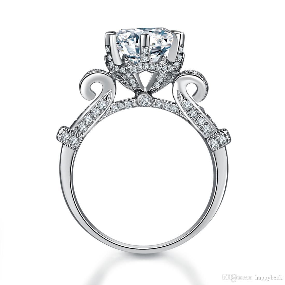 놀라운 품질 4CT 합성 다이아몬드 약혼 반지 단색 925 스털링 실버 Anniversary Day Gift
