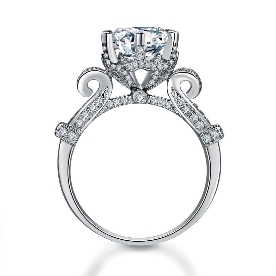Super Big Stone Anneau 5CT Synthétique Diamant Bague de Fiançailles Solide Argent Sterling 925 Couverture En Or Blanc Dur Dernière Toujours