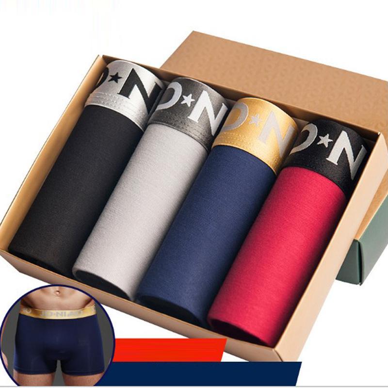 4 pçs / lote underwear homens boxers modal masculino calcinha homens shorts masculino boxers mens troncos bolsa boxer sexy gay slip cuecas