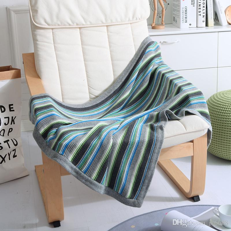 75*110cm Nordic European Knitted Blanket Sofa Throw Aircondition Bedding  Coloer Striped Fluffy Crocheted Leisure Blanket Lap Electric Blanket Yellow  ...