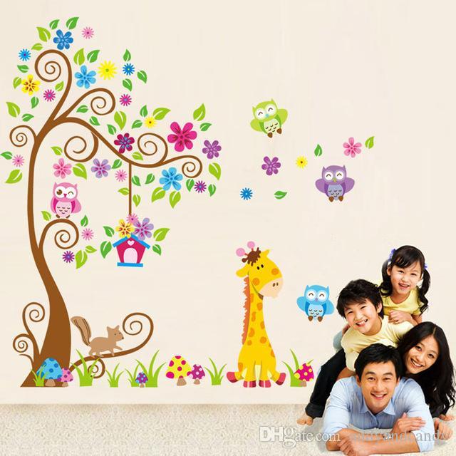 Cartoon DIY Owl Giraffe Animals Removable Wall Sticker Cute Lion PVC Decal Stickers Wallpaper For Kids Baby Nursery Room Home Decoration