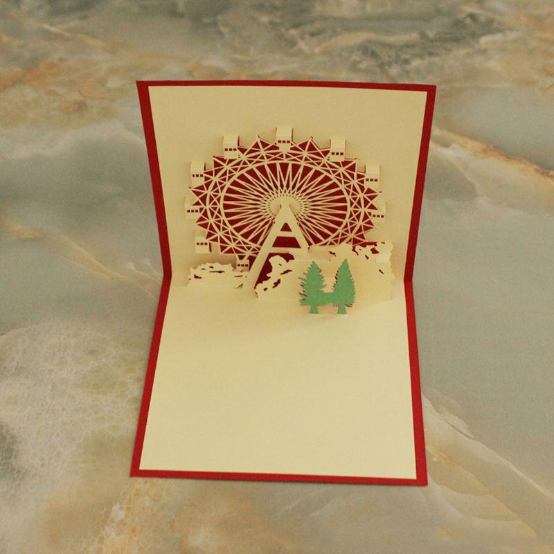 New Arrival Romantic Birthday Greeting Card Happiness Ferris Wheel Creation 3D Cards Customized Christmas From Okbrand