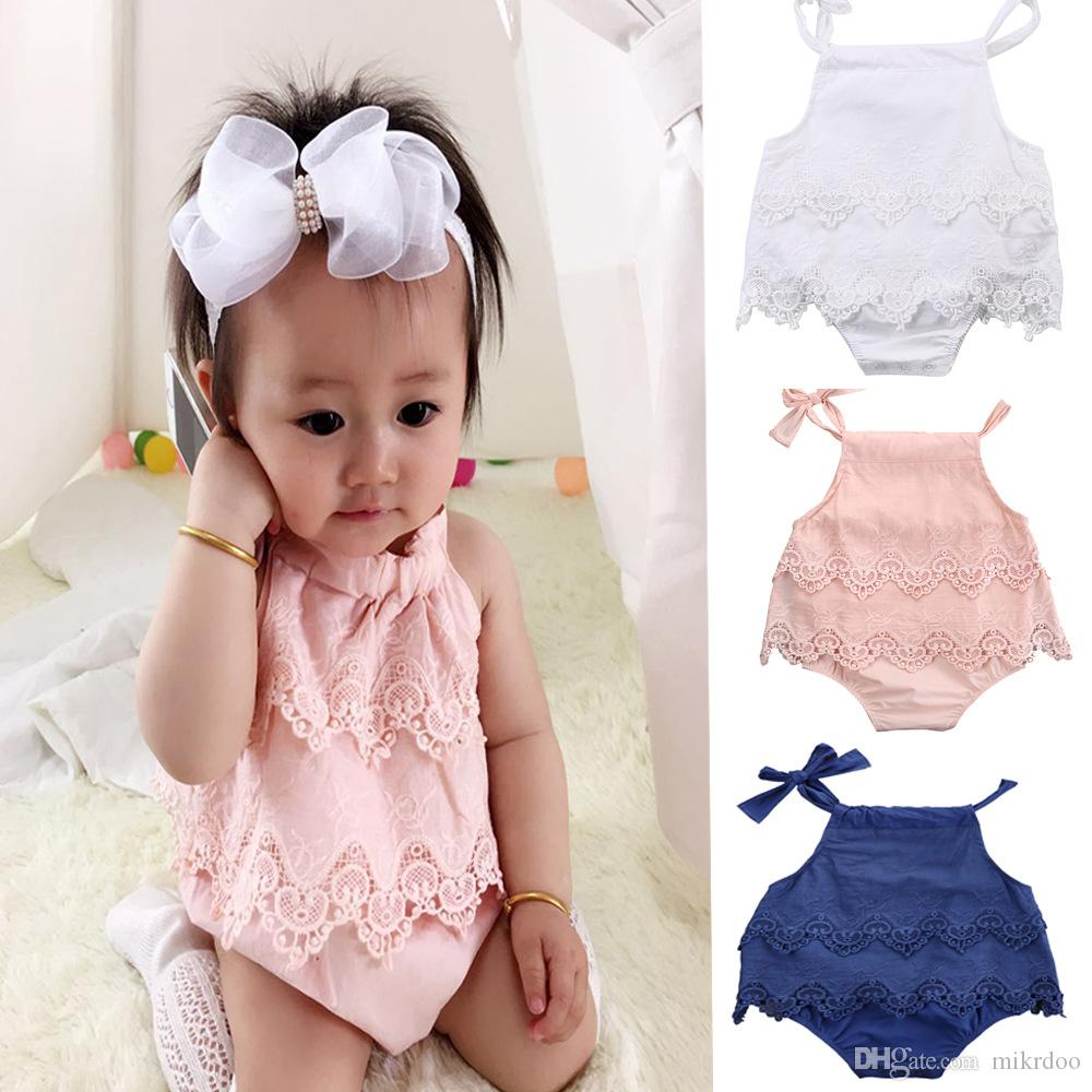 8d5f847bb177 2019 Mikrdoo 2017 Fashion Baby Rompers Funny Infant Girls Clothes Lace Belt Romper  Sleeveless Clothes Floral Top Outfits 0 18M Wholesale From Mikrdoo