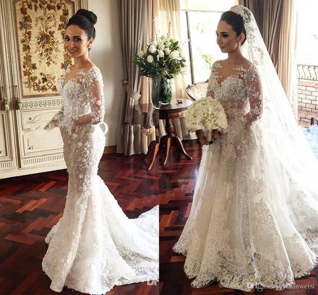 b046eb2d4241 2017 Steven Khalil Mermaid Wedding Dresses With Detachable Train Stunning  3D Floral Appliqued Sheer Neck Illusion Long Sleeve Bridal Gowns 2015  Wedding ...