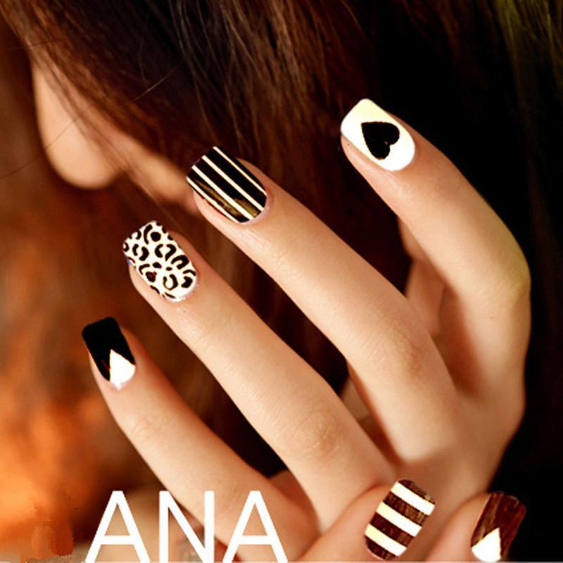 Wholesale Fashion Women False Nail Black And White Fake Nails Mix ...
