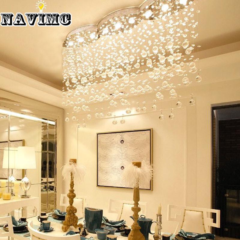 modern large rectangular curtain wave crystal chandelier lighting for hotel hall dining room foyer led ceiling lamp hanging lamps online globe pendant - Kronleuchter Fur Foyer