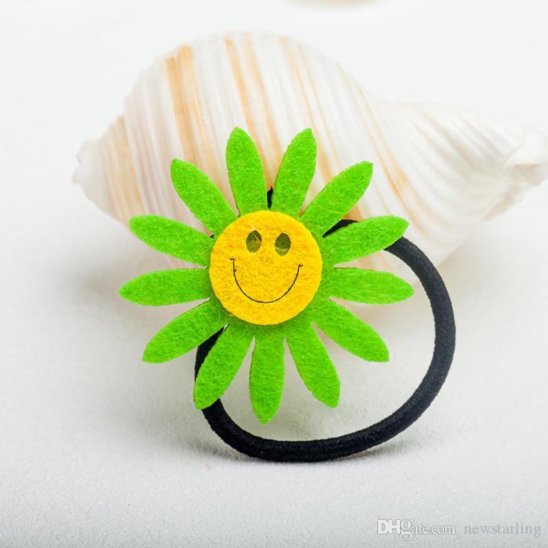 Wholesale Girls Cute Sunflower Hairpin Hair Rubber Bands Hair Rope Ring Women Headdress Circle Hair Accessories
