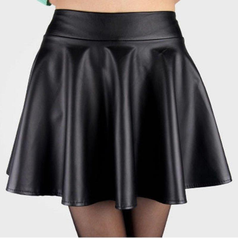096e2544ebc 2019 New Style NewLady Girls Faux Leather Skirt High Waist Skater Flared  Pleated Short Mini Skirt Hot Sale From Tanzhilian1