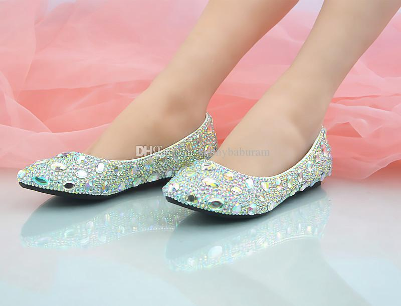 Wholesale Flats Shoes Ponted Toe Beaded Rhinestones Ladies Dating Pumps Shinning Prom Evening Shoes Cinderella Shoes Nighclub Party Crystal