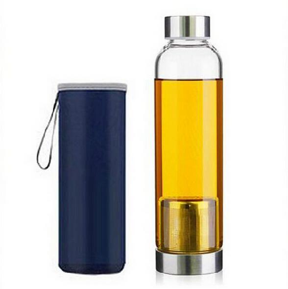 Bouteille d'eau en verre de 22 oz bouteille d'eau de sport en verre sans BPA résistante aux températures élevées avec une douille en nylon de filtre à thé