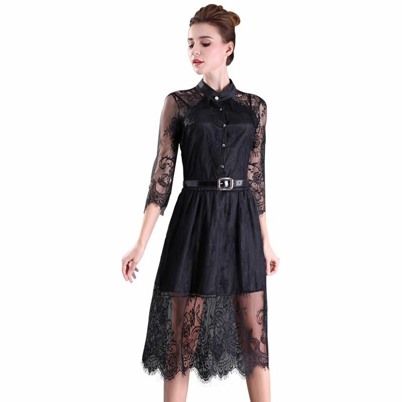 c033469b01a S-2XL Sale Summer Dresses Hollow Out Women Half Sleeve Elastic Waist ...
