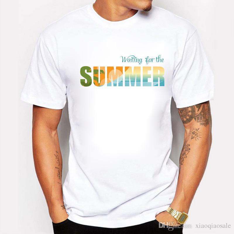 Estilo de verano, pero a la espera del diseño de verano Camisetas para hombre Algodón Manga corta Rap Hiphop Camisetas Homme