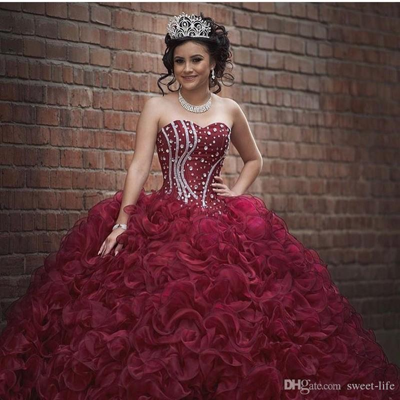 Burgundy Plus Size Ball Gown Sweet 16 Quinceanera Dresses Strapless